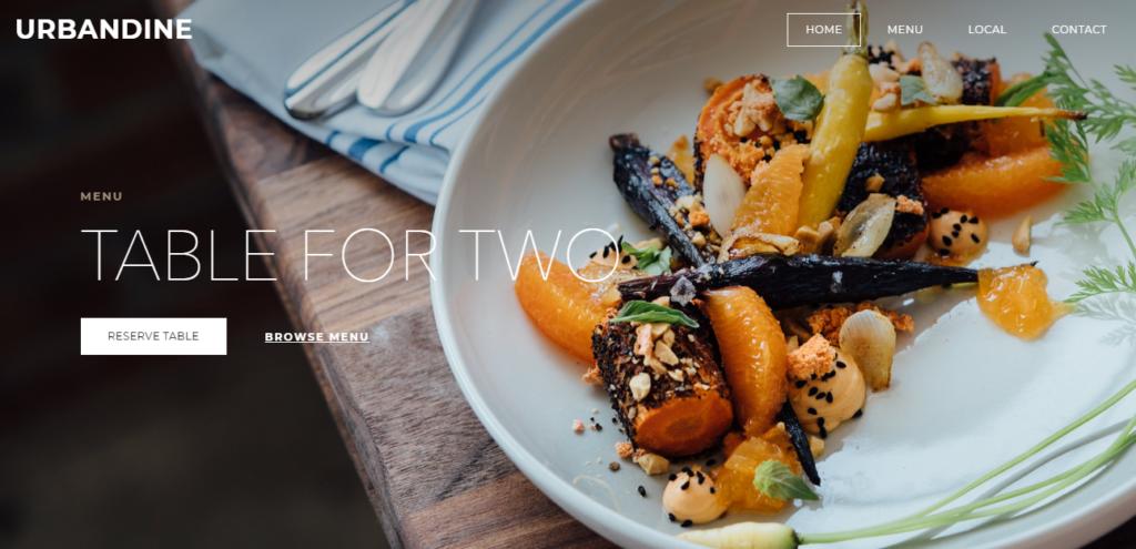 A sample Weebly restaurant website template