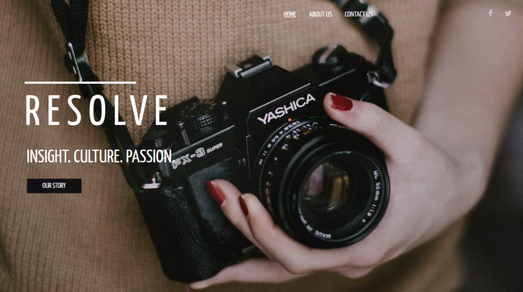 BoldGrid sample photography website template
