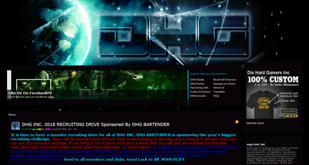 Enjin sample gaming community website template