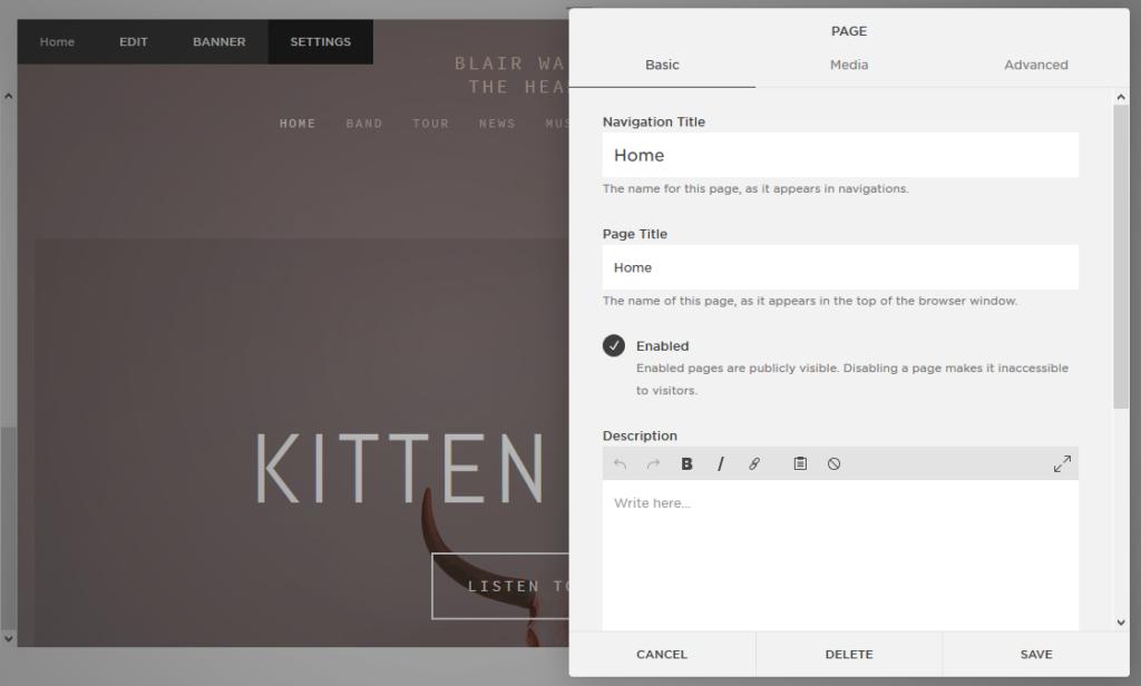 Squarespace basic design page