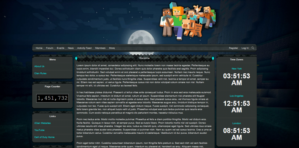 iClan Websites basic template for Minecraft sample